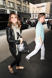 Maria Menounos was spotted out with Darrick in this classic leather jacket and scarf.