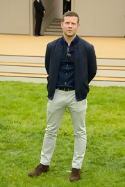 Dermot O'Leary sported a casual but classic bomber jacket at the Burberry Prorsum Runway show.