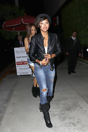 Meagan was spotted showing off a cool pair of lace up boots while leaving Trousdale night club.