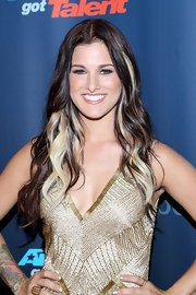 Cassadee Pope showed off her chocolate brown and blonde waves at the 'America's Got Talent' red carpet.