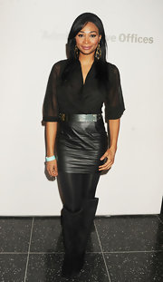 Nana Meriwether looked edgy and chic in all black at the MoMA's Armory Party in NYC.