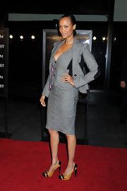 Tyra made the skirt suit oh-so-sexy at the 'Wall Street' premiere in NY.