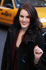 Michelle Dockery wore a deep gunmetal gray polish during an appearance on the 'Late Show With David Letterman.'