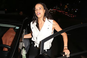 Michelle Rodriguez looked edgy and sexy in a white moto vest with side cutouts during a night out at Chateau Marmont.