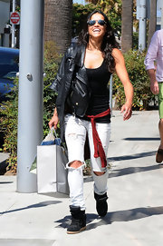 Michelle Rodriguez made sure she was comfy in a pair of basketball sneakers while shopping in Beverly Hills.