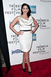 Sarah Silverman traded in her goofy red carpet attire for this white charmeuse cocktail dress at the Tribeca Film Festival.