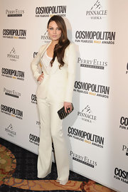 Mila Kunis carried a Metal Minaudière With Ton-Sur-Ton Leather Detailing to the 'Cosmopolitan' Fun Fearless Males event.