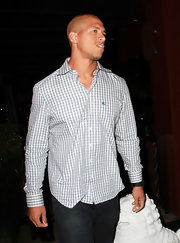 Miles Austin unearthed his preppy side in a gray gingham button down shirt.