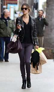 Alessandra Ambrosio channeled downtown cool in a luxe leather motorcycle jacket.