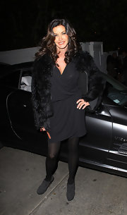 Janice Dickinson wore this draped LBD with her fur coat to Chateau Marmont.