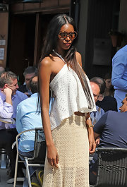 Jessica looked stunningly boho-chic in this eyelet halter blouse at Lunch in NYC.