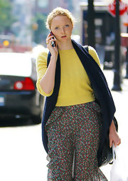 Lily Cole topped off her layered ensemble with a navy scarf while strolling in New York City.