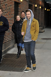 Nothing says casual like a fitted work jacket like the one Ryan Lewis sported here.