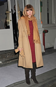 A rosy-cheeked Anna Wintour bundled up in a classic camel coat.