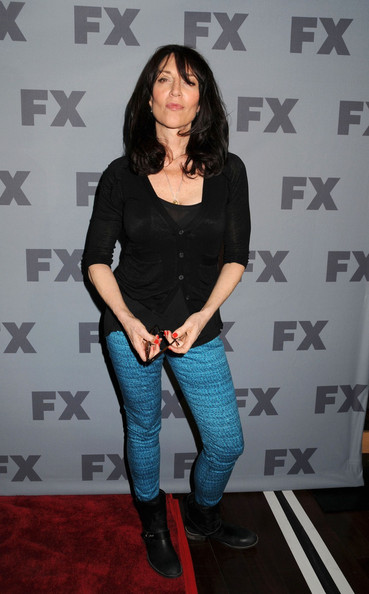 Katey Sagal looked like a rocker chick in a tight black cardigan, turquoise skinnies, and biker boots at the 2012 FX Ad Sales Upfront.