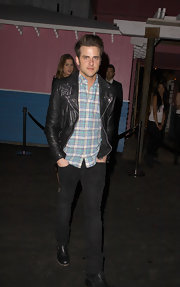 Jared Followill worked it like a true rock star in a pair of skinnies and a leather jacket.