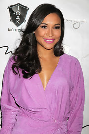 Naya Rivera celebrated her 25th birthday in Las Vegas wearing a vibrant pinkish purple shade of lipstick.