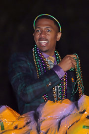 Nick Cannon's blazer was Mardi Gras appropriate with its purple and green plaid print!