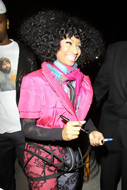 Nicki Minaj showed off her voluminous curly tresses while making an appearance at 'Jimmy Kimmel Live'.