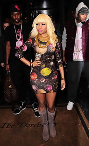 Nicki is out of this world in a bright galaxy print cocktail dress.