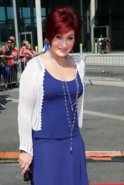 Sharon Osbourne accessorized her plain dress with two long beaded necklaces at the 'X Factor' auditions.