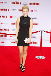 Olivia Holt rocked a contemporary little black dress with beaded neck detailing at the 'Iron Man 3' premiere in LA.