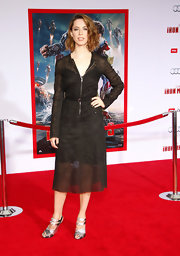 Rebecca Hall chose a unique LBD with this sheer, zippered frock.