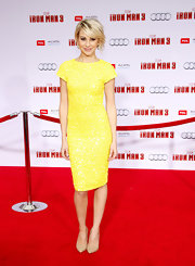 Chelsea Kane looked fun and flirty in a canary yellow, capped-sleeve dress.