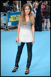 Lucy Watson chose a white and grey ombre sequin top to pair with her skinny leather pants.