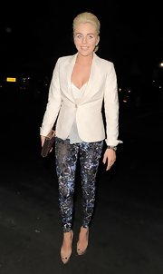 Lydia Bright was spotted at Mooro's Restaurant in a fitted white blazer.