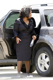 Oprah Winfrey looked more like she was walking the red carpet than filming a movie with this elegant ruffle LBD.