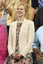 Nicole Kidman looked prim and polished in a fitted cream blazer.