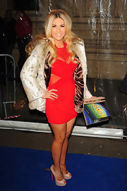 Frankie Essex wore a red mesh body con dress for the 'Totem' London show.