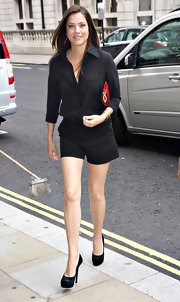 Julie Gonzalo made short shorts look dressy during the press launch of 'Dallas' in London.
