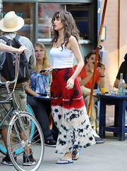 Paz de la Huerta channeled her inner hippie in a tie-dye maxi skirt and a white tank top while out and about in New York.