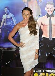Michelle Heaton went out to see the 'Magic Mike' London premiere wearing a lace one-shoulder dress.