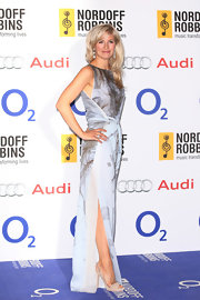 Alison Balsom chose a white and gray printed evening dress for her look at the O2 Silver Clef Awards.