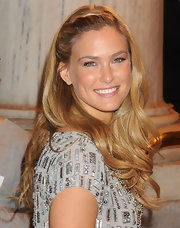 Bar Refaeli wore her long hair with French braided bangs at the Marchesa fall 2012 fashion show.