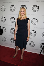 Laura Linney kept her LBD on trend by pairing it with round toed leopard pumps.