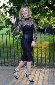 Eva opted for a long-sleeve, paisley lace LBD for her look at the Serpentine Gallery Summer Party.