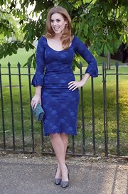 Princess Beatrice looked totally royal in this rich blue dress that featured delicate floral patterns.