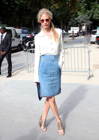 Poppy Delevingne Denim Skirt