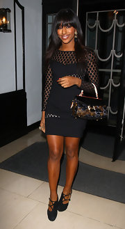 Alexandra dons an LBD with textured sheer insets at the Glamour 10th birthday party.