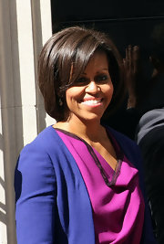 Michelle Obama went for a charming retro look with this bob during a state visit to the United Kingdom.