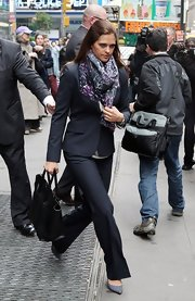 Princess Madeleine made sure to carry a roomy leather tote to hold all her essentials as she walked around Time Square.