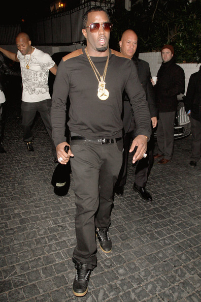 Sean Combs was spotted at Chateau Marmont looking smart in gray slacks and a crewneck sweater.