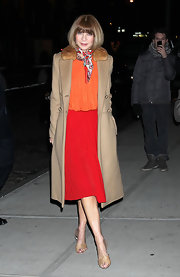 Anna Wintour glammed up her color-block ensemble with a fur-collared camel coat.