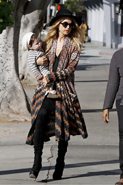 Rachel Zoe channeled '70s glam in a stunning chevron-striped duster.