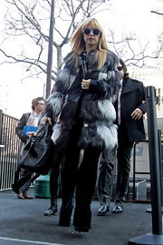 Rachel Zoe showed her love of fur yet again with this multi-tired fur coat while attending New York Fashion Week.