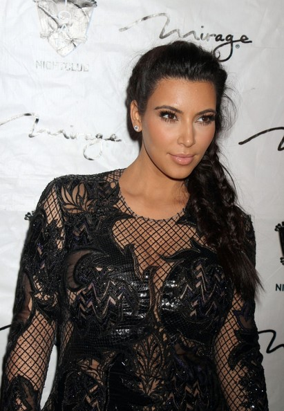 More Pics of Kim Kardashian Long Braided Hairstyle (4 of 17) - Long Braided Hairstyle Lookbook - StyleBistro
